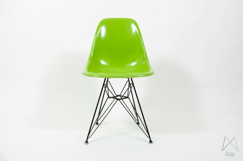Image of Eames Herman Miller DSR Lime Dining Side Chair