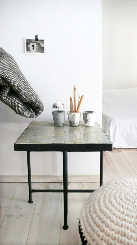 "Image of Moroccan ""Zellij"" Side Table - dark Stone"