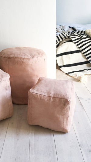 Image of Moroccan Natural Leather Pouf - Small Squared