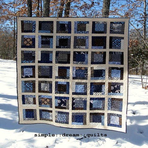 "Image of indigo + oatmeal nap size quilt - 67"" x 58"" - framed square design - farmhouse quilt"