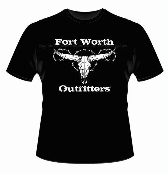 Fort worth outfitters longhorn skull short sleeve shirt for Custom t shirts fort worth