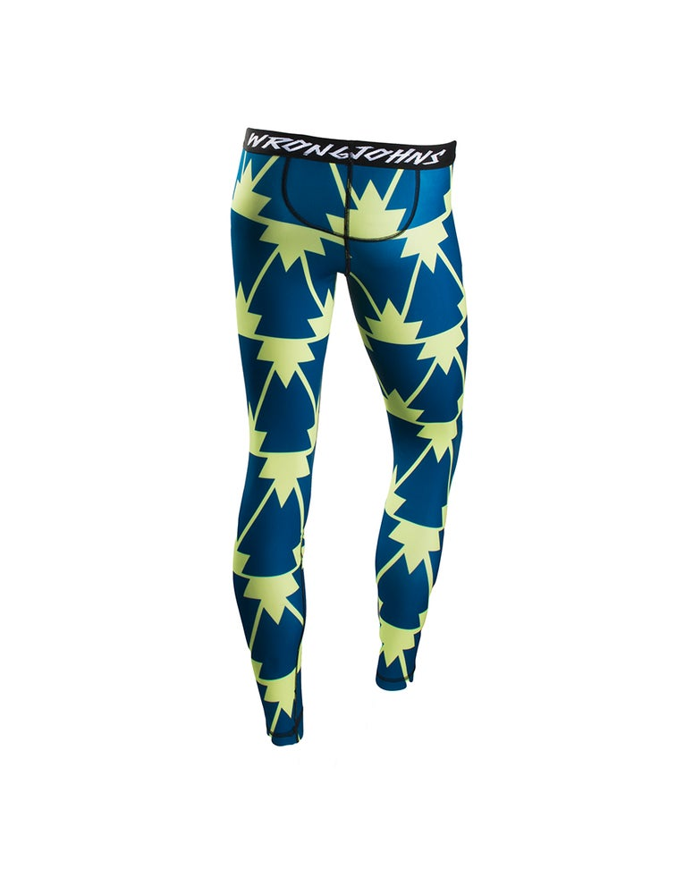 Image of Womens Blue/Neon Trees Thermal Bottoms