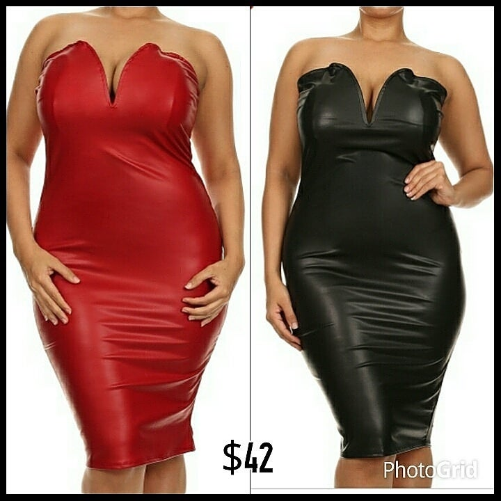 Image of Plunging Faux Leather Bodycon Midi