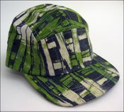 "Image of MJL ""Kelly Green Abstract Print Squares"" Camp Cap"