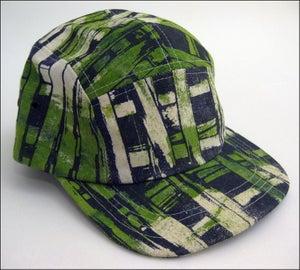 "Image of MJL ""Kelly Green Abstract Print Squares"" Camp Cap"