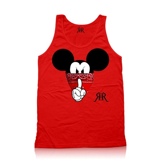 """Image of """"Quiet Like a Mouse"""" Tank Top in red"""