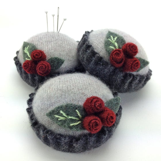 Image of Rosebud Pincushion - Gray on Gray