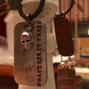 """Image of Skull & Dog Tag """"Whatever It Takes"""" (one of a kind)"""