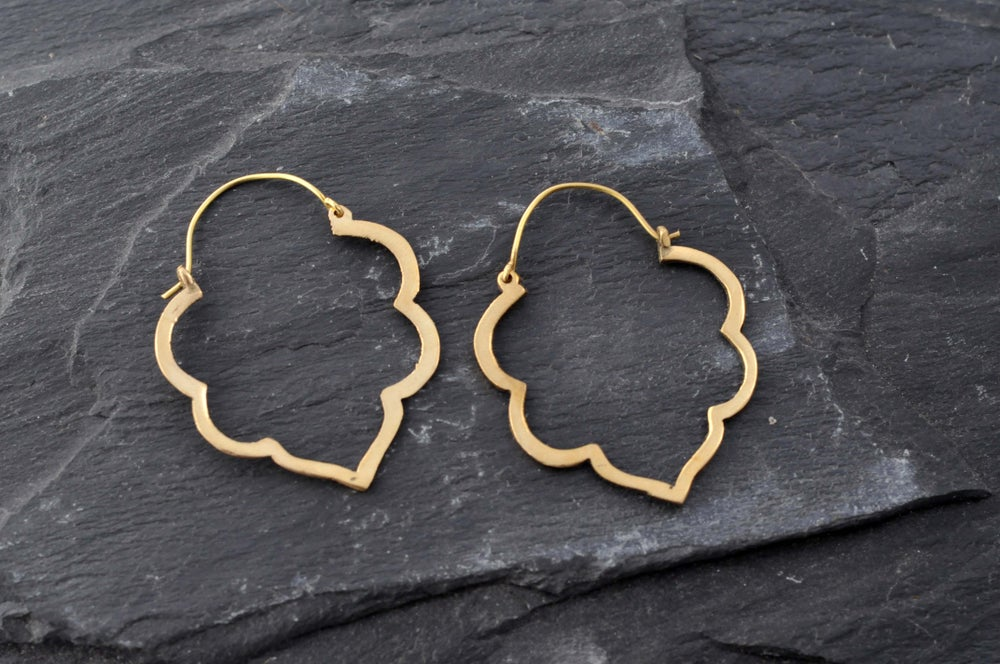 Image of Pair of lotus outline earrings in brass