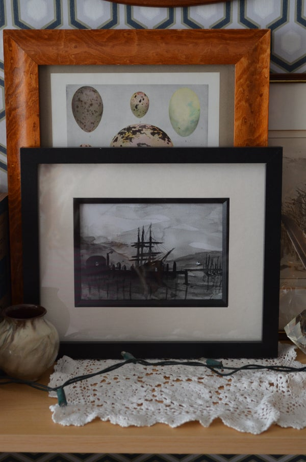 Image of Monochrome Watercolour Sailing Ship