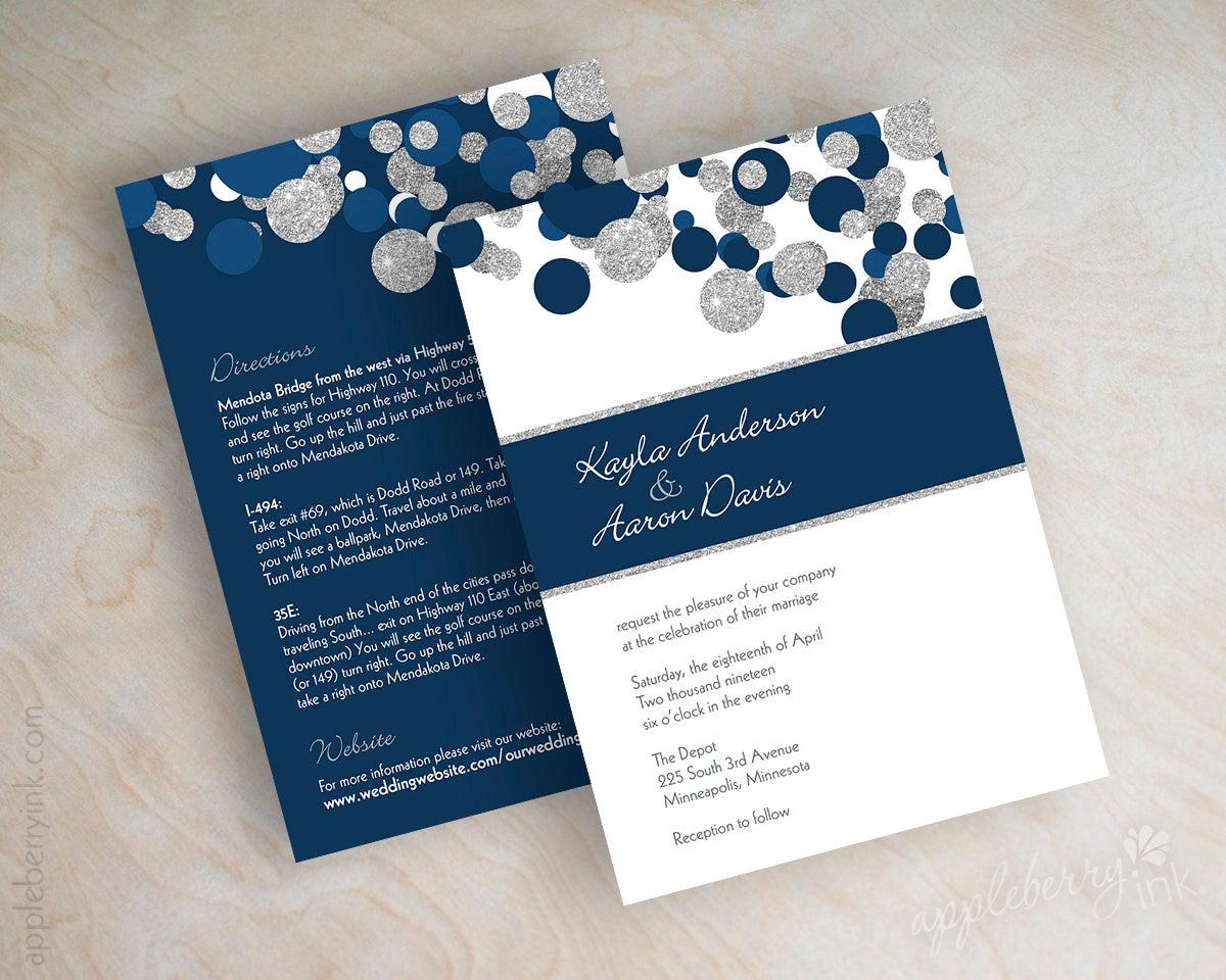 Navy Blue And White Wedding Invitations: Kendall Navy Blue Silver Glitter Wedding Invitations