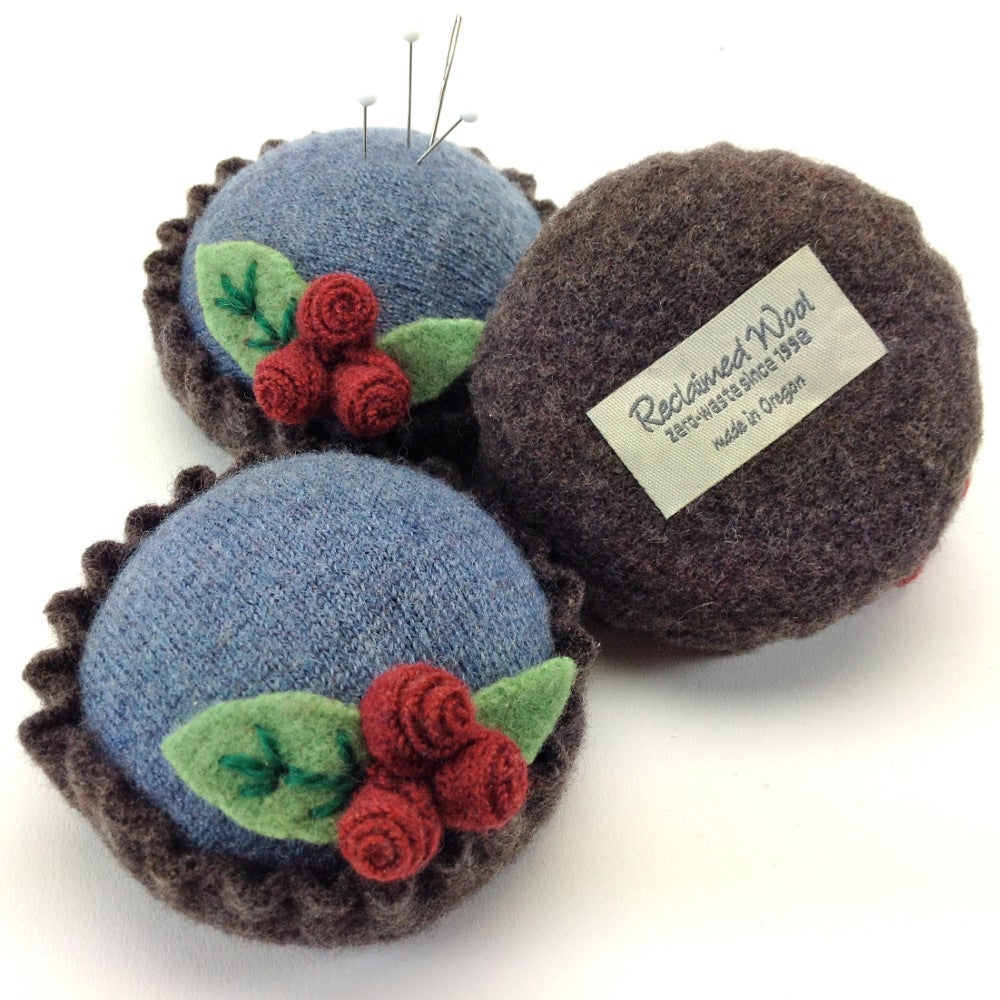 Image of Rosebud Pincushion - Blue & Brown