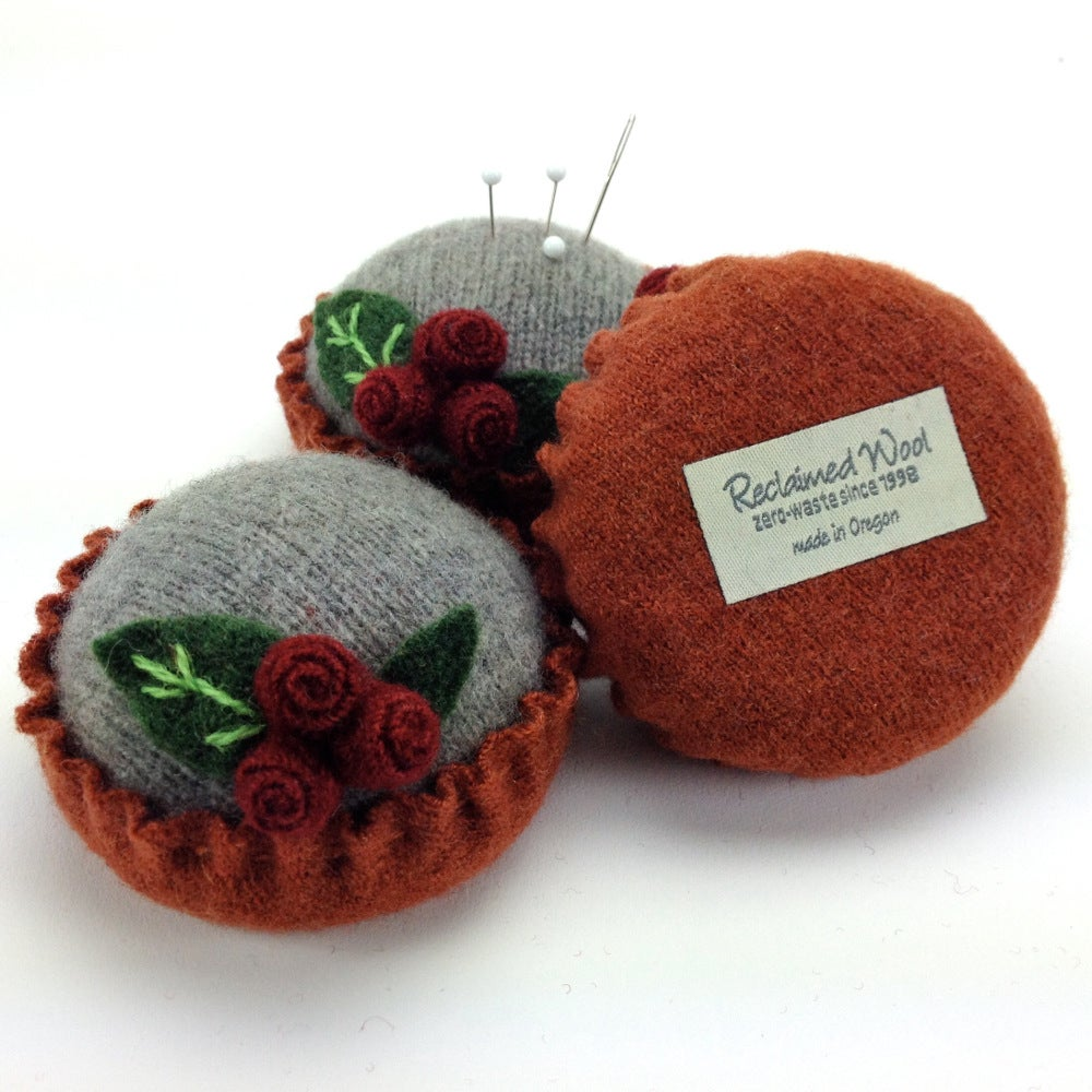 Image of Rosebud Pincushion - Gray & Russet