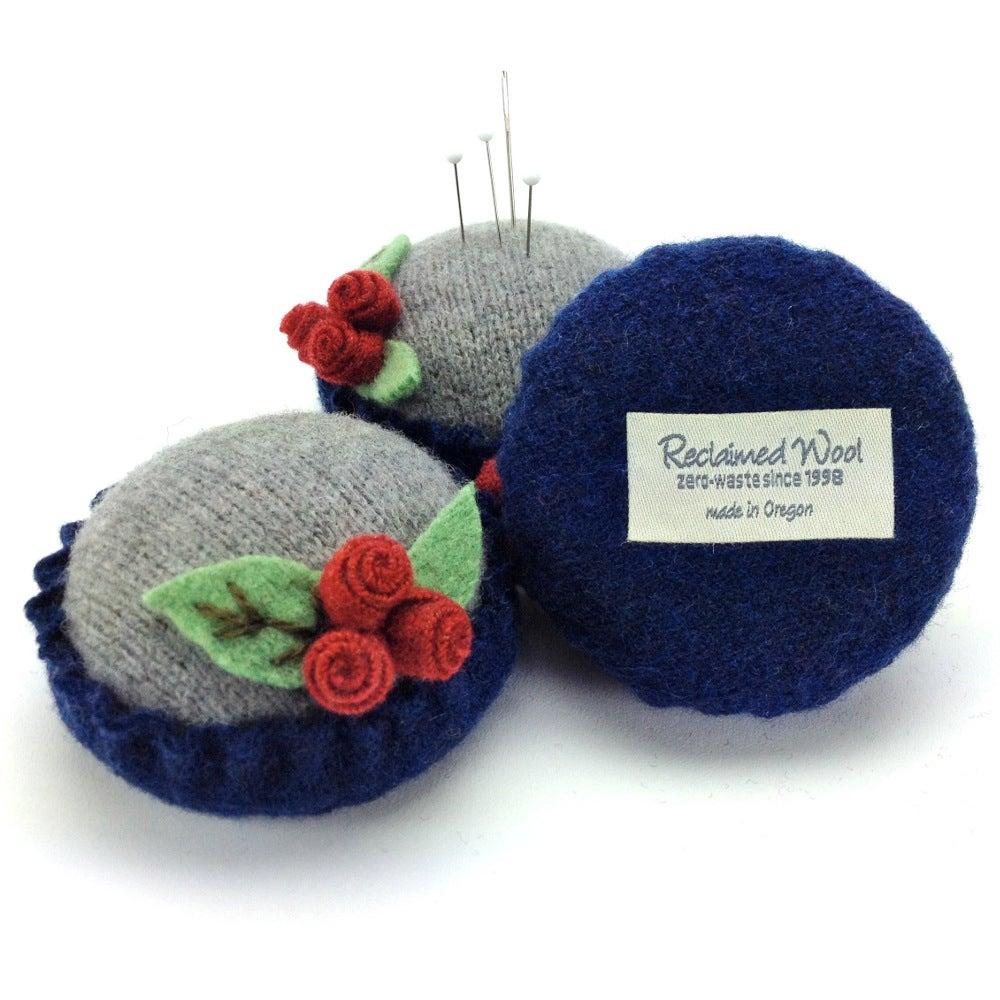 Image of Rosebud Pincushion - Gray & Blue