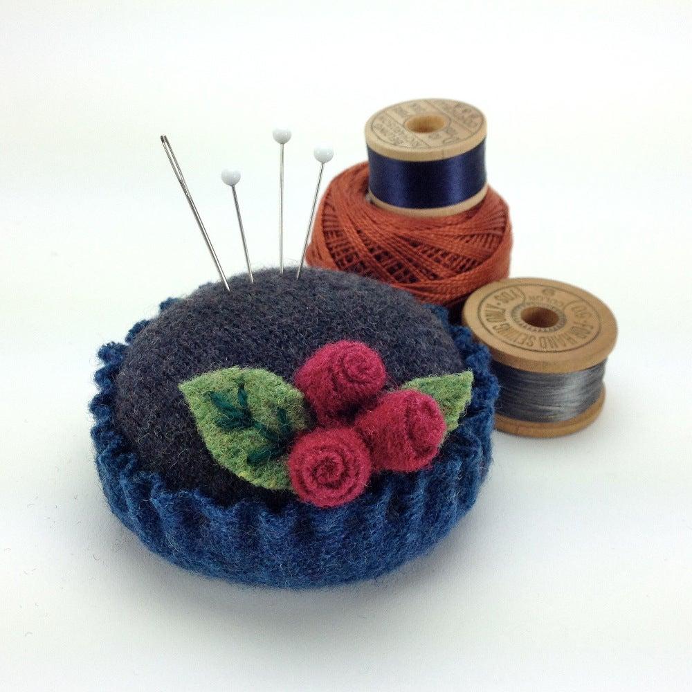 Image of Rosebud Pincushion - Charcoal & Blue