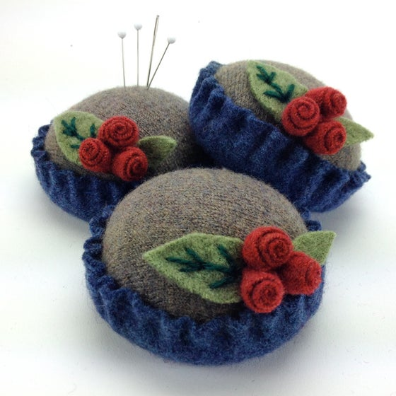 Image of Rosebud Pincushion - Taupe & Blue