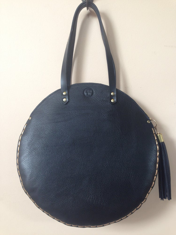 Image of Le Monde black leather large round tote bag