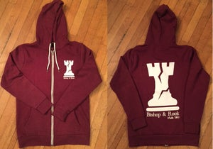 Image of Mens Burgundy Zip Up Hoodie