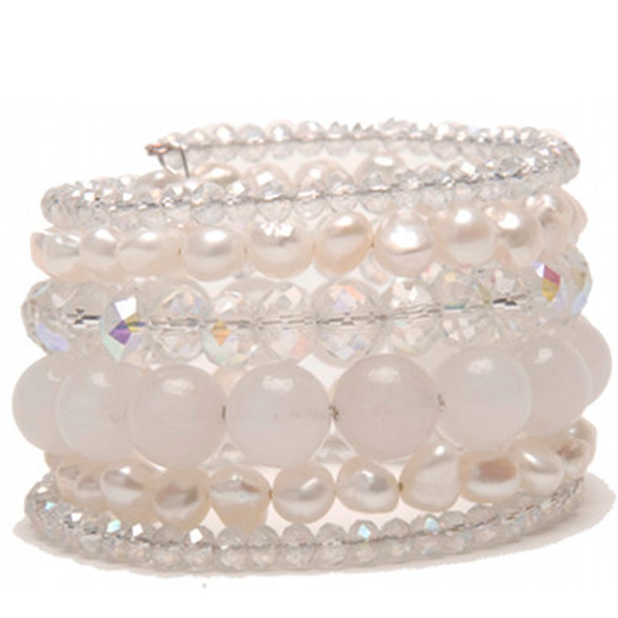Image of Aura Jade and Pearl Memory Wire Bracelet