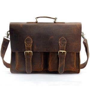 """Image of Men's Handmade Vintage Leather Briefcase Messenger 14"""" 15"""" Laptop 13"""" 15"""" MacBook Bag (n67-4)"""