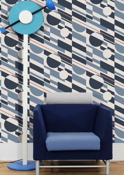 Image of P.L.U.T.O. Wallpaper - Washed Denim & Copper