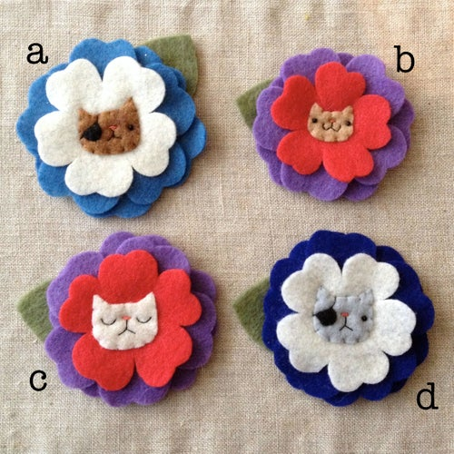 Image of cat ume flower brooches (ready-to-ship)