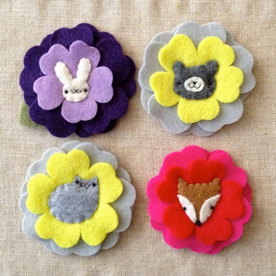Image of animal ume flower brooches (ready-to-ship)
