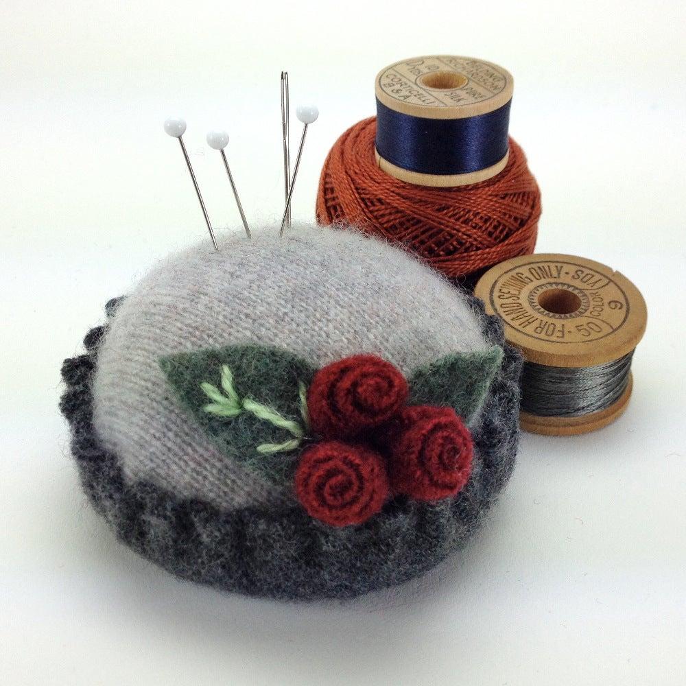 Image of Rosebud Pincushion - Gray on Gray