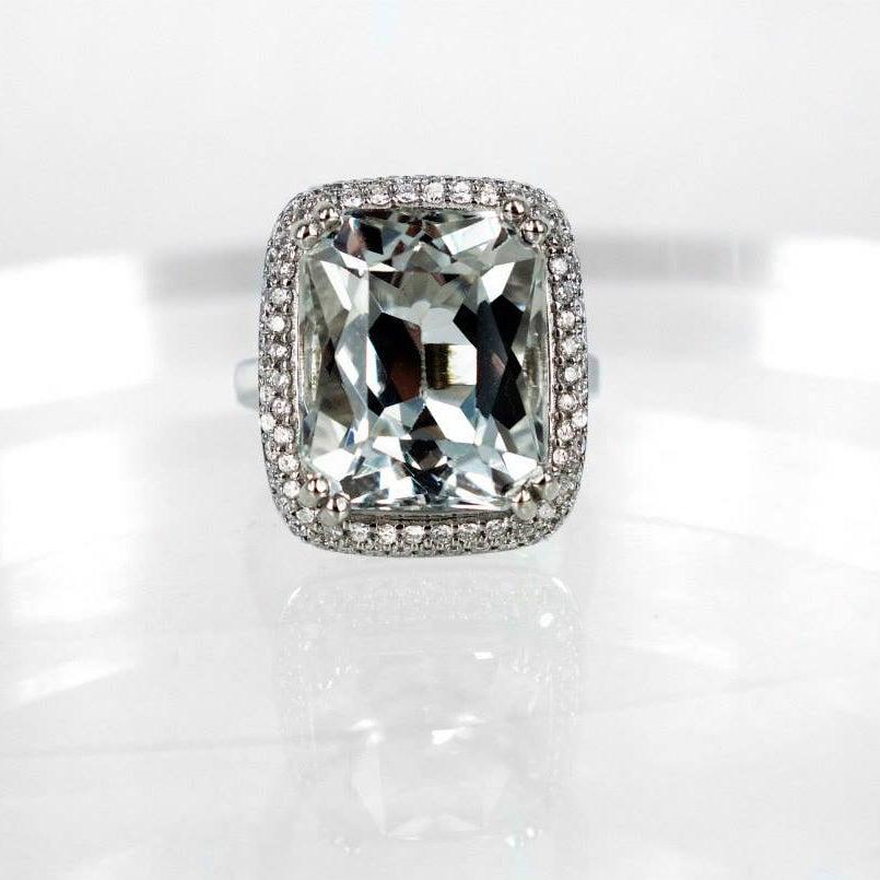 Image of White topaz diamonds cocktail ring