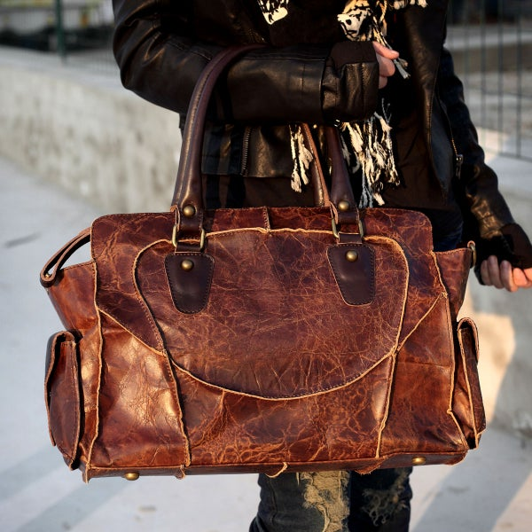 Image of Vintage Handmade Antique Cow Leather Women's Handbag / Purse / Shoulder Bag / Messenger Bag (m11)
