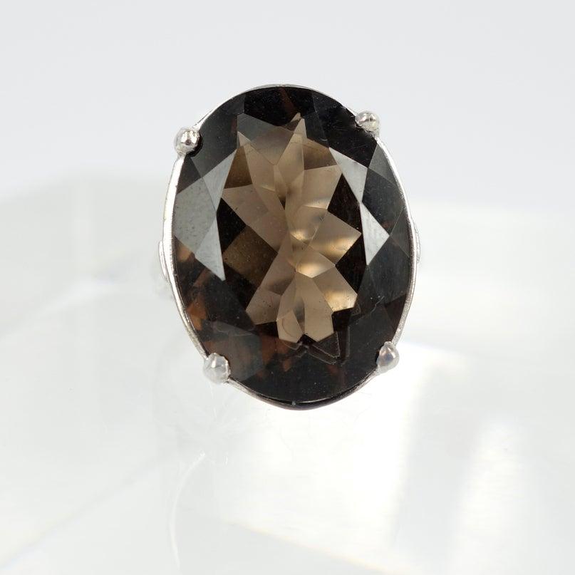 Image of White gold smokey quartz ring