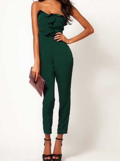 Image of Green Strapless Jumpsuits With Drape Bust