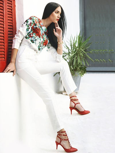 Image of Floral Print Jumpsuit With Long Sleeves