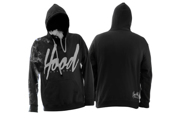 Image of SMOKABLE HOODIE - WHITE HOOD ON BLACK - WHITE PIPE