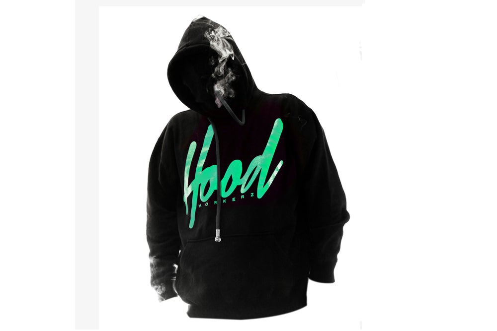 Image of SMOKABLE HOODIE - TEAL HOOD ON BLACK - BLACK PIPE