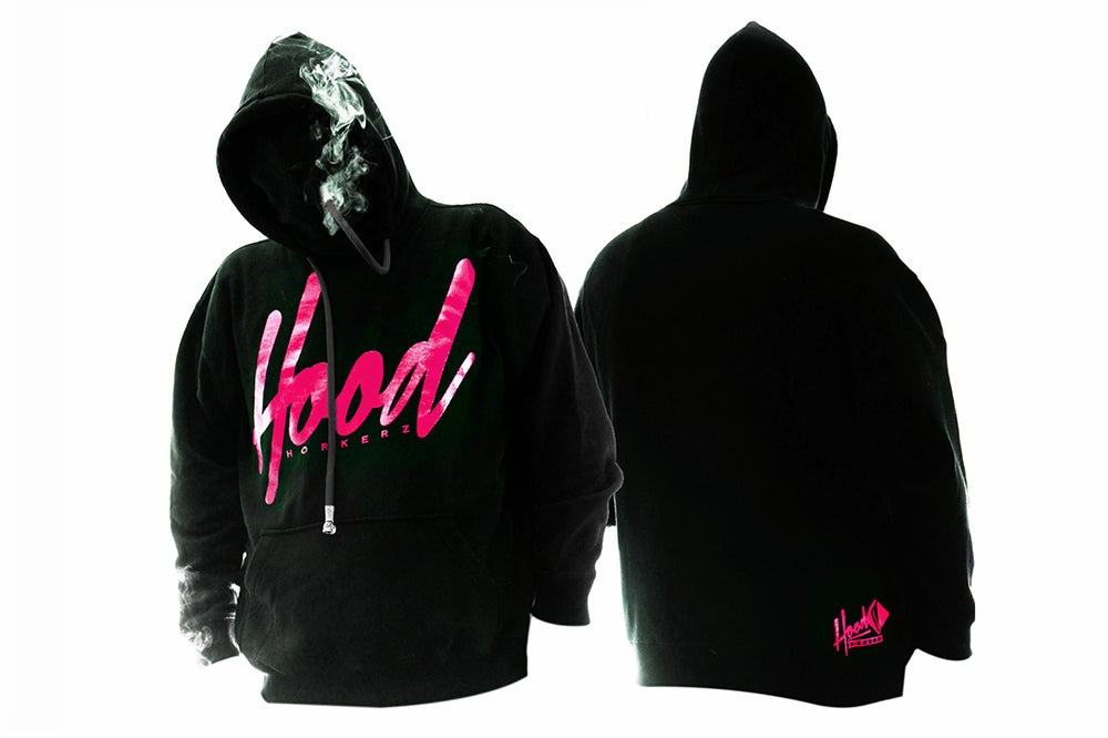 Image of SMOKABLE HOODIE - PINK HOOD ON BLACK - BLACK PIPE