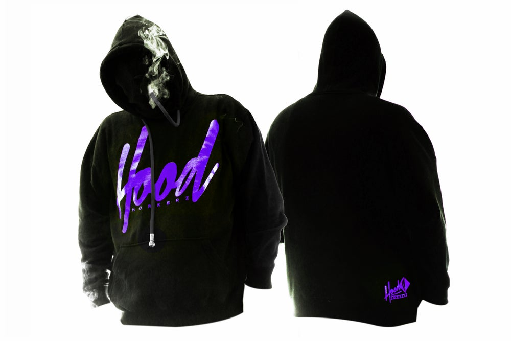 Image of SMOKABLE HOODIE - PURPLE HOOD ON BLACK - BLACK PIPE