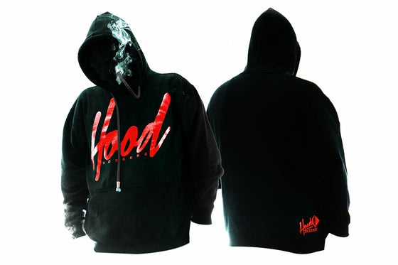 Image of SMOKABLE HOODIE  RED HOOD ON BLACK - BLACK PIPE