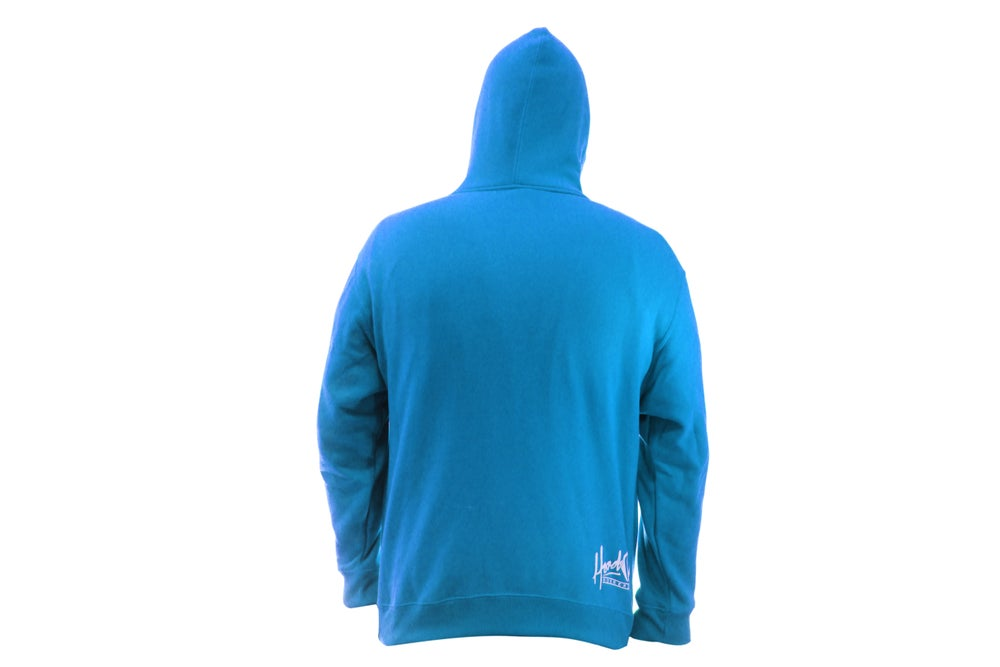 Image of SMOKABLE HOODIE - WHITE HOOD ON SAPHIRE - WHITE PIPE