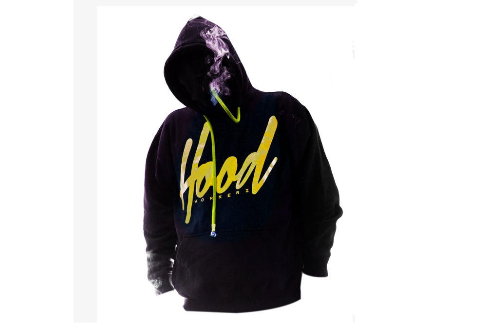 Image of SMOKABLE HOODIE - YELLOW HOOD ON BLACK - YELLOW PIPE