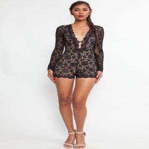 Image of Black Lace Romper w Nude Underlay