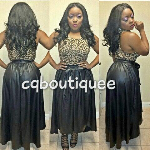 Image of Leatherette Skirt plus size ( black )