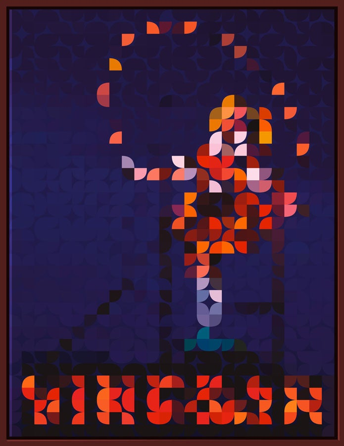 Image of Squint Abstract Print Skipping Girl