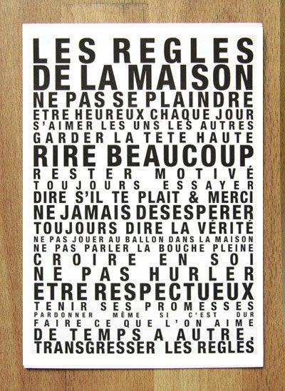 """Image of Carte Postale """"Les Règles de la Maison"""""""
