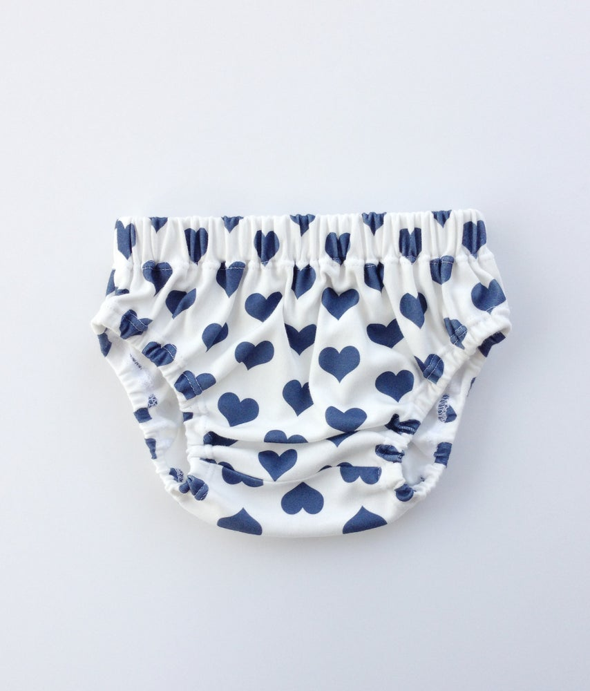Image of organic cotton navy signature heart bloomer