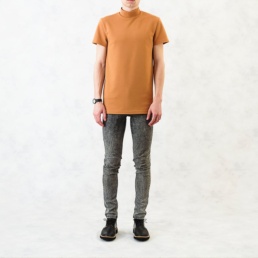 Image of Textured Turtleneck T-Shirt