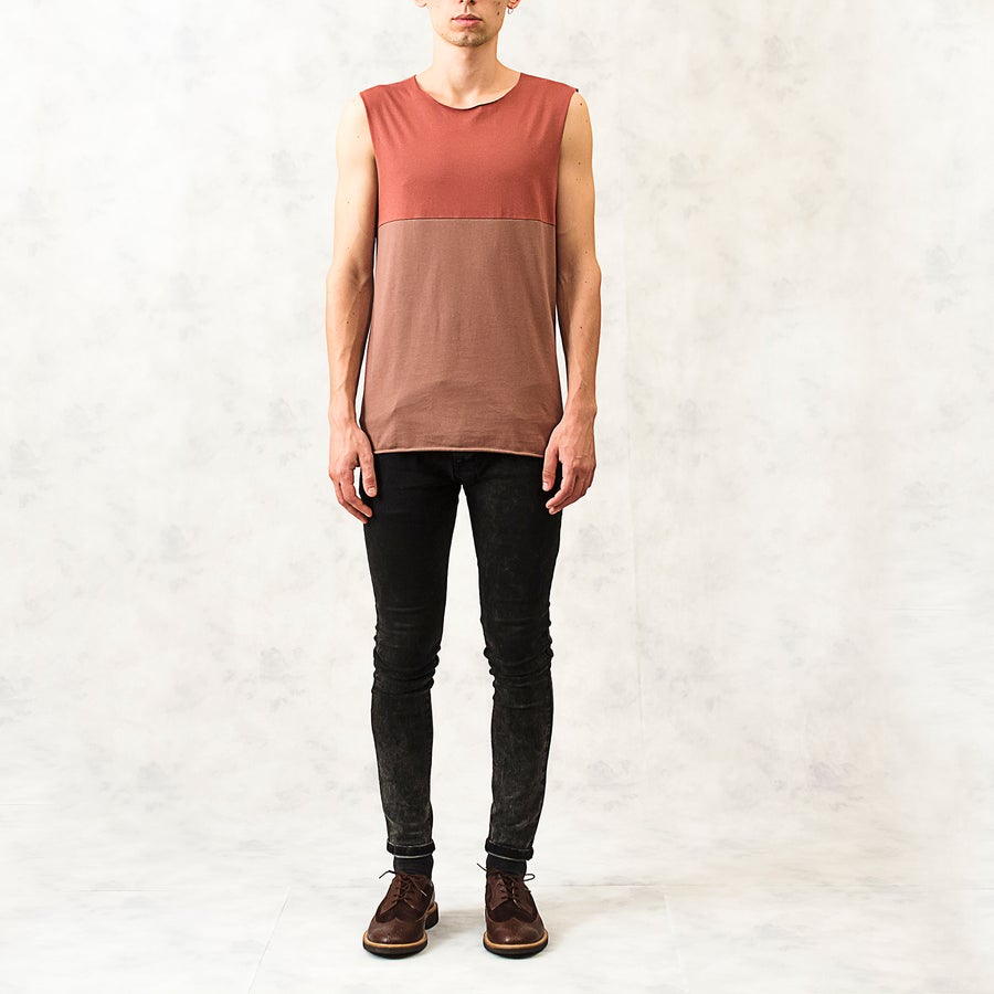 Image of Warm Colour Block Print Cotton Vest