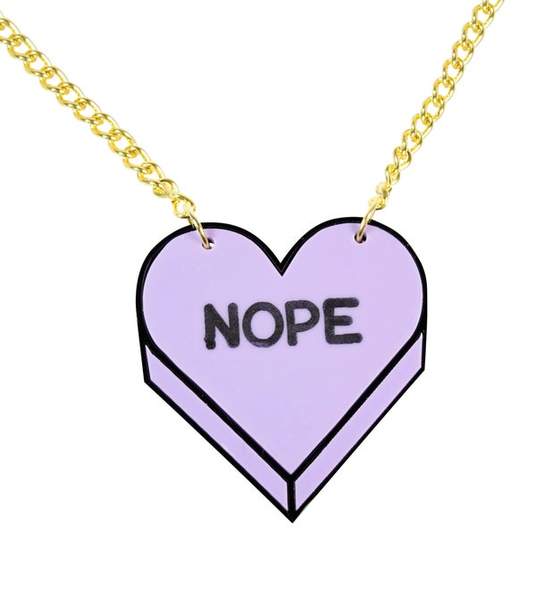 """NOPE"" Candy Heart Necklace - Black Heart Creatives"