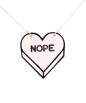 """""""NOPE"""" Candy Heart Necklace - Black Heart Creatives"""