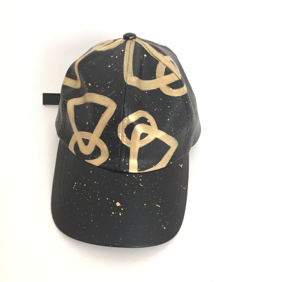 Image of GOLD LEATHER WI$E PYRAMID CAP